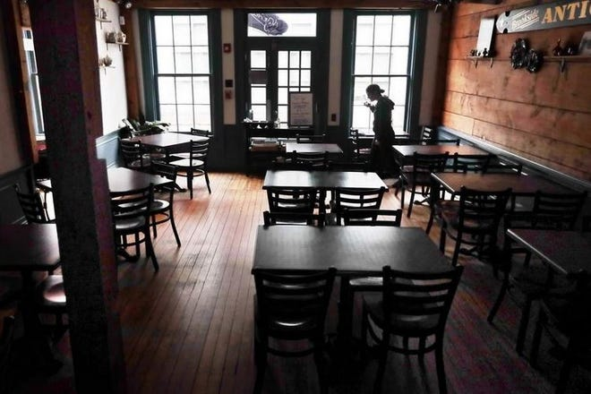 Tia Maria's in New Bedford with its dining area closed during the COVID-19 pandemic.