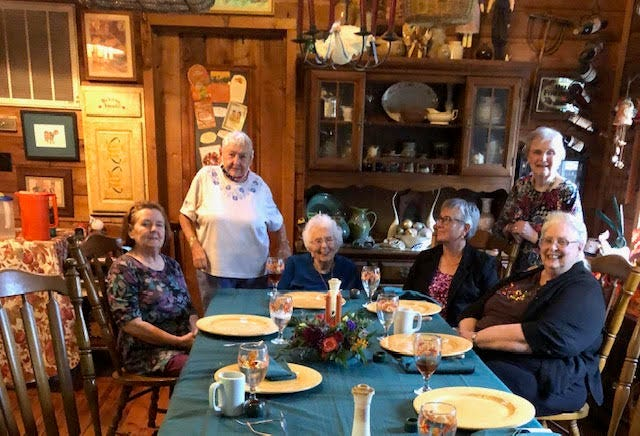 A group of very long time Fairfield Harbour friends gathered at the home of Linda and Larry Flynn for a memorable Thanksgiving dinner. They were pleased to each receive a doggie bag of leftovers to take home. Enjoying the meal, from left to right, were Linda Flynn, Edythe Colton, Joan Smith, Ruth Ann Hendel, Barbara Abey, and Diana Jones. Of special note is the fact that Joan will turn 105 years young in December. [CONTRIBUTED PHOTO]