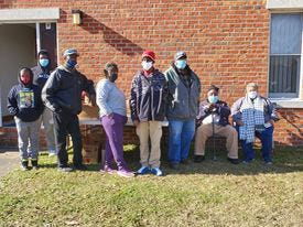 Alfred Barfield and his, helpers recently donated 100 boxes of food at First Missionary Baptist Church to seniors and needy families in the community. Mr. Barfield has held this program for 39 years. Due to declining health, this will be his final year. Pictured, from left are Charles Foye, Derrick Foye Jr., Mr. Preston, Lois Jamison, Mr. Chris, Jeff Simmons and seated are Alfred Barfield and Carolyn Hickman. [Tina Adkins, Sun Journal]