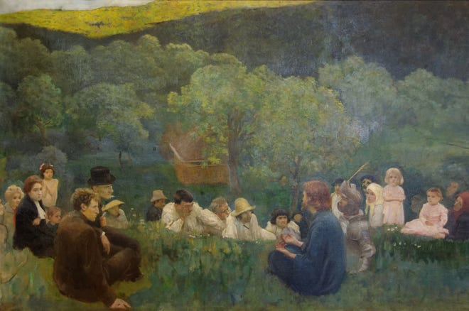 Jesus during the Sermon on the Mount, in an 1896 painting by Hungarian artist Kåroly Ferenczy.