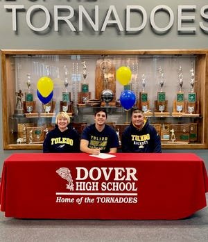 Dover High School senior baseball standout Brennan McCune, a son of Billie Jo McCune and Jeremy McCune recently signed a national letter of intent to receive a scholarship to continue his education and play baseball at the University of Toledo.