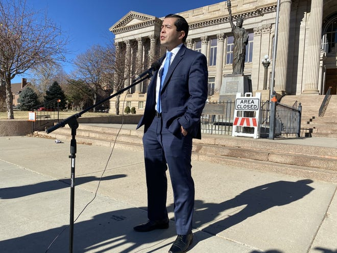 Pueblo County Commissioner Garrison Ortiz is seen here in early December on the steps of the Pueblo County Courthouse. He announced that small businesses would see $5.8 million in CARES Act funding to help with economic setbacks from the COVID-19 outbreak.