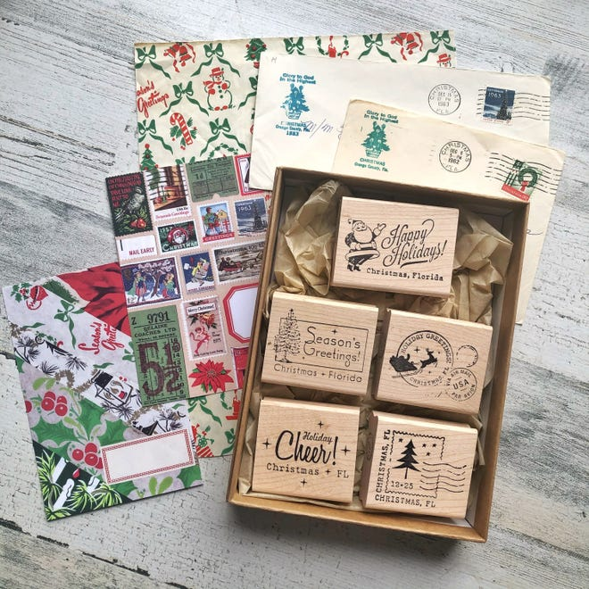 These wood-and-rubber stamps are a gift to the Christmas Post Office from Skylar Hand, a Palm Bay mom of four who is crazy about the holidays and about sending and receiving mail, too.