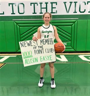 Huntington junior Allison Bayse recently had a had a record-setting game as she not only scored her 1,000th career point but she broke the single-game scoring record, scoring 43 points, including making 19-of-21 free throws.