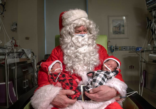 Registered nurse Jason Yakes was able to spread some Christmas cheer and dressed up as Santa Clause for families at the Gerber Foundation Neonatal Center, which is a level 4 neonatal intensive care unit.