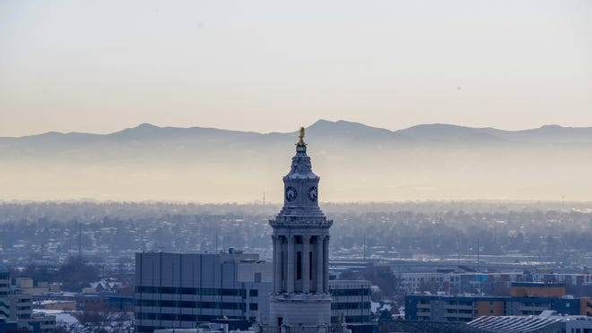 Haze behind Denver's City and County Building on the afternoon of Thursday, Oct. 31, 2019.