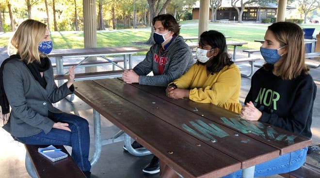 Ryan Scharlau, Damini Parkhi, Ellie Belcastro, part of the Southwest Florida student group Normal is Overrated, met with a reporter to share their thoughts on the pandemic's impacts on teenagers and mental health in December 2020/ Credit: Amanda Inscore Whittamore