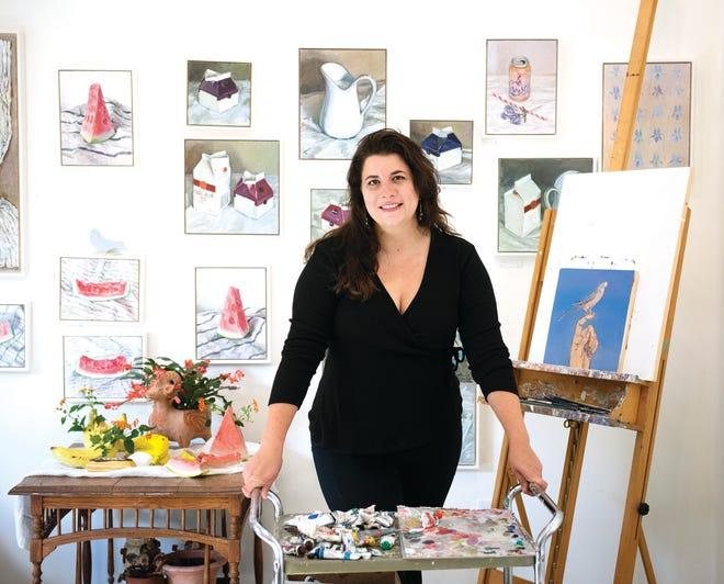 Artist Annie Koelle at her studio in Greenville.