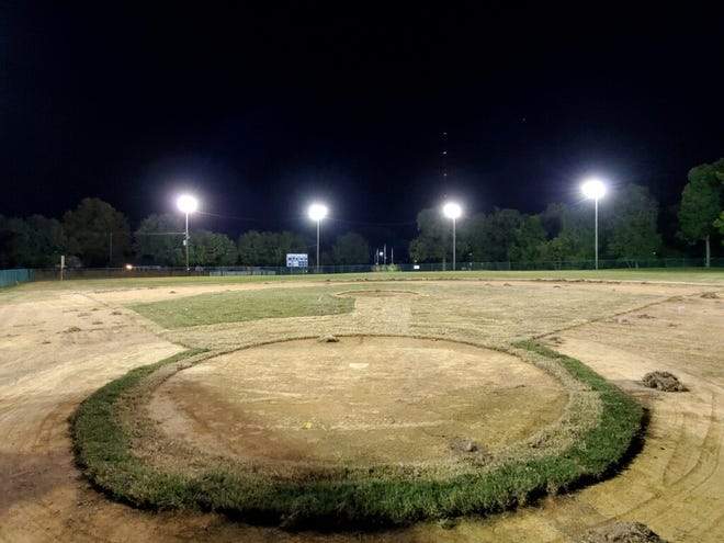 Installing new sod at Park Field, which is now complete, was one of the first projects in the renovation of the baseball field in Atkinson Park. The Henderson Flash will move into the field in the summer of 2021 and is spearheading the renovations under an agreement with the city.
