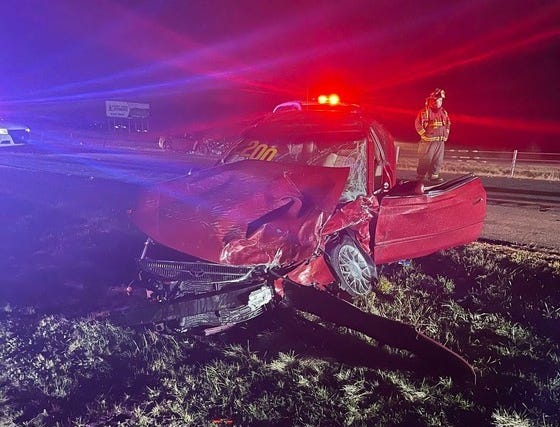A West Lafayette man who was in this Toyota Solara died Saturday after being ejected from the car during a four-car crash about 4:55 p.m. Saturday, Dec. 19, 2020, on Interstate 65 in Jasper County.