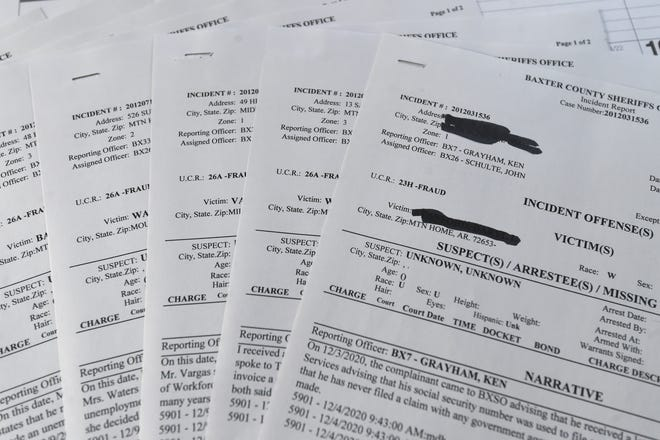 This stack of reports from the Baxter County Sheriff's Office represent a small sample of the 66 unemployment fraud reports the agency has taken since September.