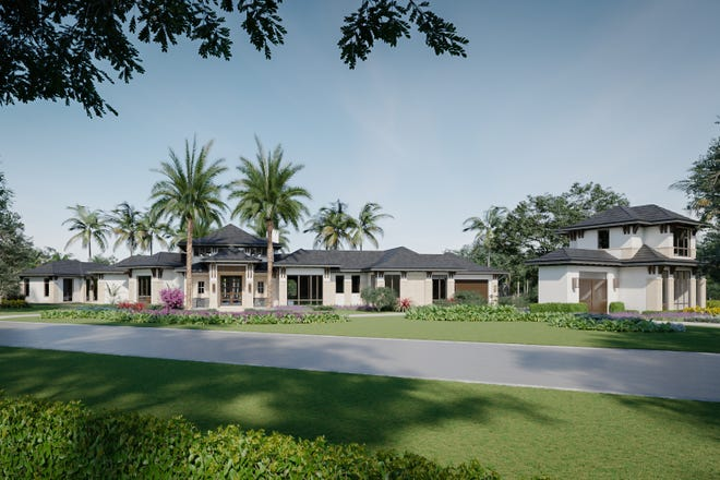 Artists' rendering of the front of Diamond Custom Homes' first spec home on Rum Row in Port Royal.