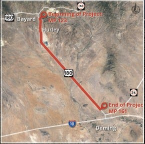 Here is a map of the 38-mile stretch of US Hwy. 180 between Bayard and Deming.