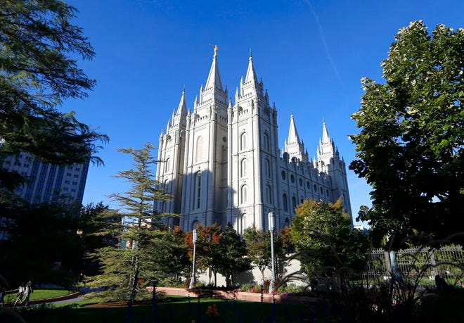 In this Oct. 5, 2019, file photo, The Salt Lake Temple stands at Temple Square in Salt Lake City. James Huntsman, a member of one of Utah's most prominent families and brother of a former governor, sued The Church of Jesus Christ of Latter-day Saints, accusing it of fraud and seeking to recover millions of dollars in contributions. The federal lawsuit, filed Monday, March 22, 2021, asserts that the church spent members' donations that were solicited for charity on commercial purposes.