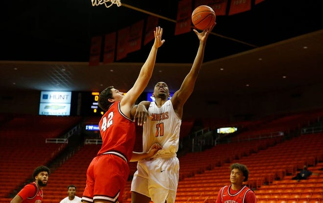 UTEP's Bryson Williams, right, led the Miners to a 79-59 win against Benedictine Mesa on Sunday at the Don Haskins Center. UTEP is 4-2 on the season.