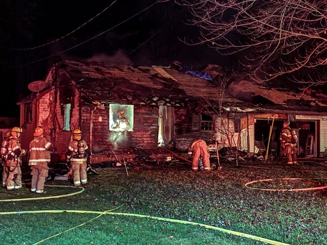 A house on Garden Road in Zanesville was destroyed in a fire Sunday night.