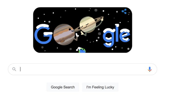 A screenshot of Google's doodle celebrating Winter Solstice and the conjunction between Jupiter and Saturn.