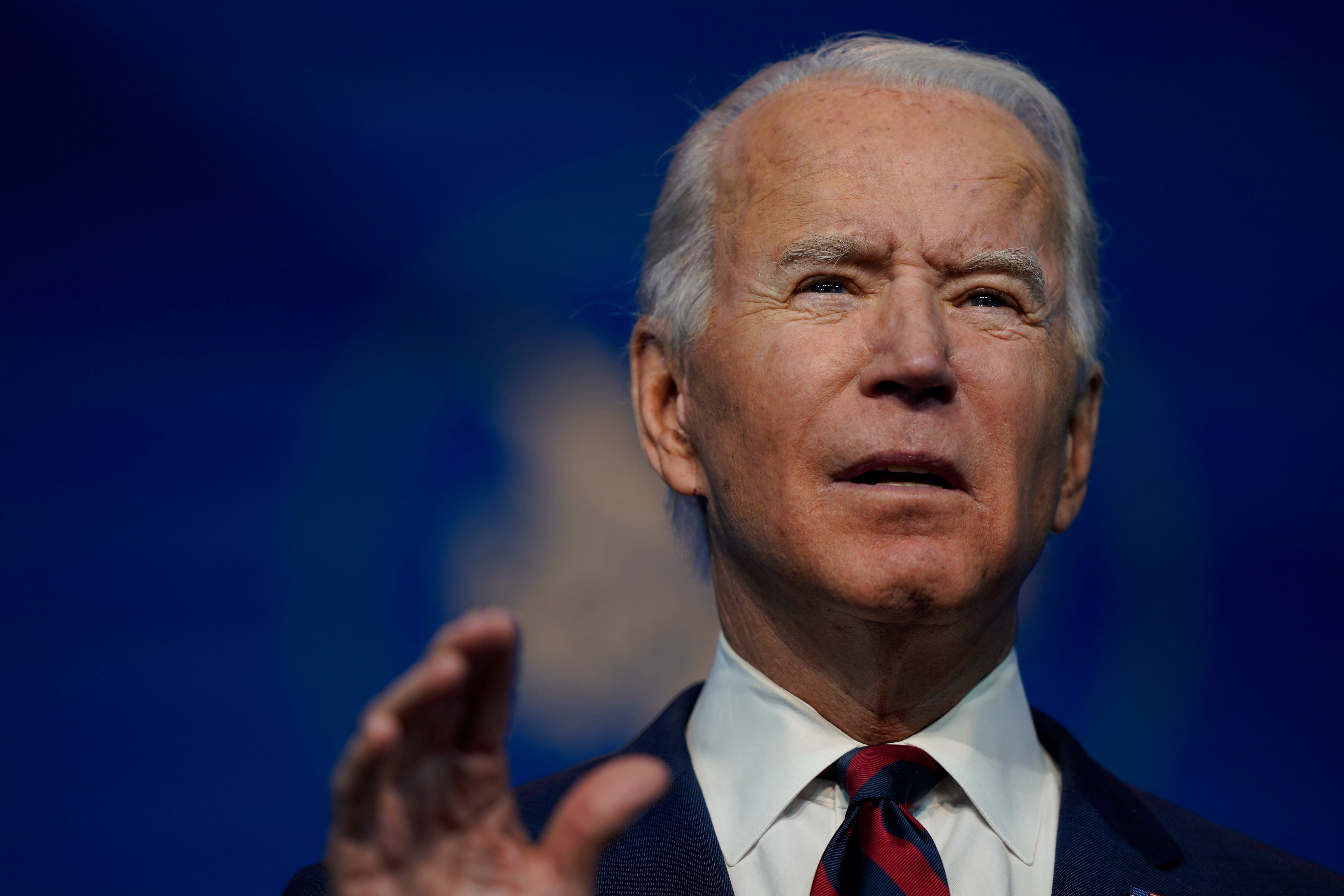 President-elect Joe Biden speaks at The Queen Theater in Wilmington Delaware, Saturday, Dec. 19, 2020, to announce climate and energy nominees and appointees.