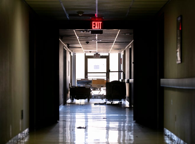 A darkened hallway in the permanently closed Little River Hospital in Cameron on December 21, 2020. The hospital closed in 2018.