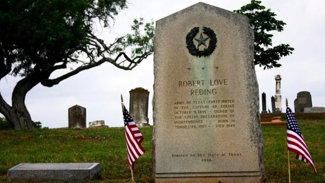 The tombstone of Robert Love Reding, a Texas soldier who passed away in 1849, located in Fairview Cemetery in Bastrop.