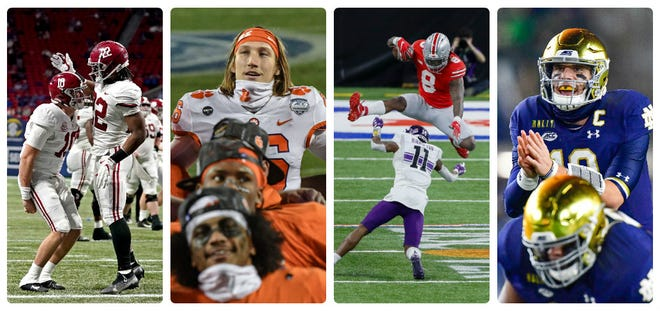 The final four of college football's playoff, from left to right: Alabama quarterback Mac Jones and running back Najee Harris celebrate a score in the SEC title game; Clemson quarterback Trevor Lawrence is back at full strength; Ohio State running back Trey Sermon had a huge game in the Big Ten title game; and Notre Dame quarterback Ian Book is the key to the Fighting Irish.