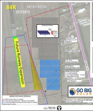 The proposed Smithville Solar One project, a 1-megawatt solar farm, is seen in blue. It's adjacent to the Smithville municipal airport.
