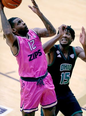 University of Akron guard Bryan Trimble has picked up some of the scoring load for the Zips in recent games. He said the Zips took advantage of the postponement of Tuesday's game against Ohio to get ready for Friday night's game at Miami University. [Phil Masturzo/Beacon Journal file photo]