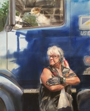 """The painting """"Long Haul"""" shows Sondra Eiche, 70, of Lima, a retired truck driver who served in the Marines."""