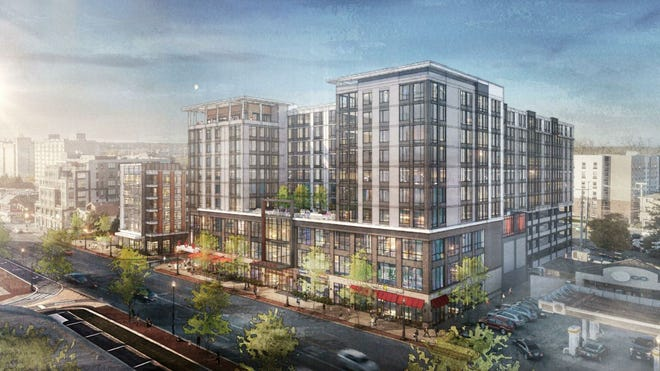 The Harrison House apartment building at 222 W. Lane Avenue would be replaced with a mixed-use development that would incorporate five buildings.