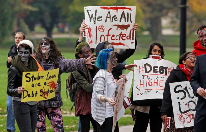 OSU Students held a student-debt rally, Zombie walk on the OSU Oval on October 31, 2014. (Columbus Dispatch photo by Tom Dodge)