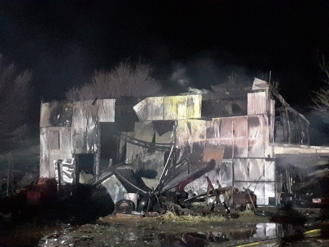 No injuries reported in a Dec. 20 fire to a structure in the 100 block of Cottonwood Avenue. Preliminary reports indicate the possible cause to the fire was a wood burning stove inside the structure but has not been confirmed at this time.