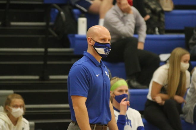 Van Meter girls head basketball coach Jay Olson during the Monday, Dec. 21 outing against Des Moines Christian.
