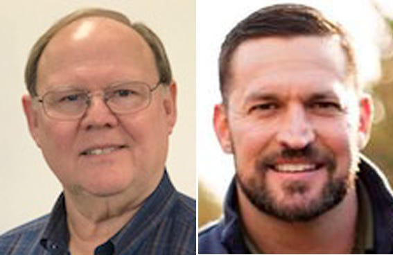 Monmouth voters will decide between two candidates in the April consolidated election — incumbent Rod Davies, left, and challenger Justin Lipes.