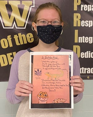 "Kayla Peirce won second place in the 9-12 grade category of the 2020 National Chemistry Week (NCW) Illustrated Poem Contest pertaining to the theme, ""Sticking with Chemistry."""