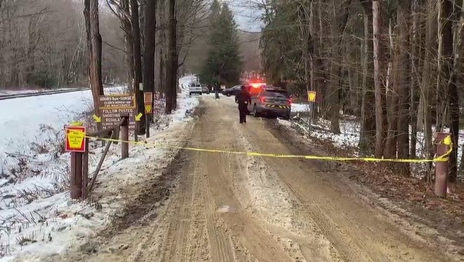 Pennsylvania State Police investigate a shooting on Tuesday at the State Gamelands 109 shooting range on Sampson Station Road in Greene Township.