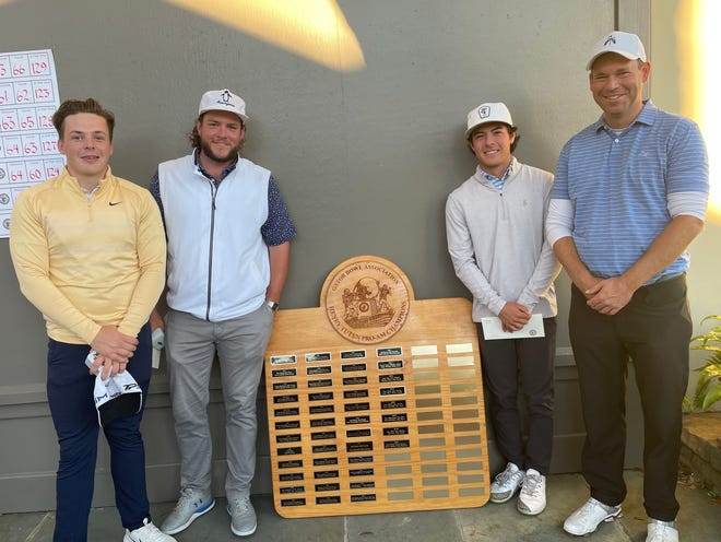 The winning team in the 2020 Henry Tuten Gator Bowl Pro-Am, at Sea Island. From the left is pro David Wicks, and amateurs Devon Hopkins, Jordan Batchelor and Chris Henderson.