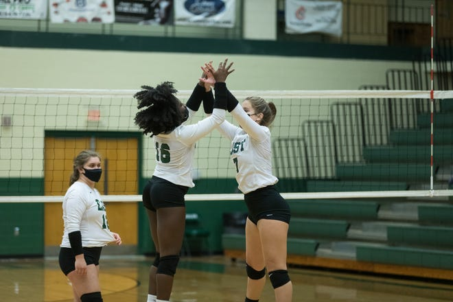 East Henderson's Molly Gilliam (7) and Sontee Moore perform their pre-game ritual as they get ready to face off against Hendersonville on Monday at East.