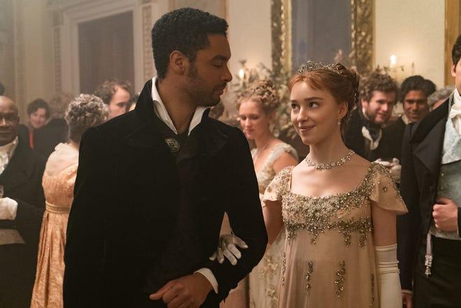 """Regé-Jean Page as Simon Bassett and Phoebe Dynevor as Daphne Bridgerton in """"Bridgerton."""" (Liam Daniel/Netflix/TNS)"""