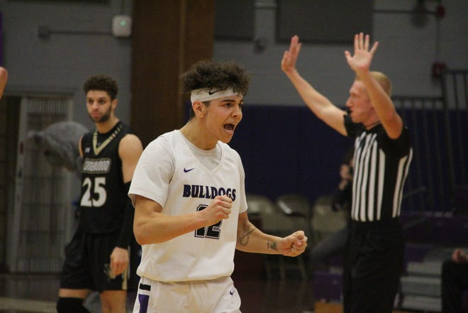 Truman's Hunter Strait reacts after a 72-70 win against Lindenwood.