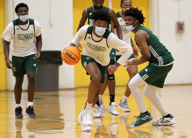 Dontrez Styles dribbles up court during a recent Kinston High basketball practice. The UNC signee and the Vikings have high hopes for a state championship in 2021.