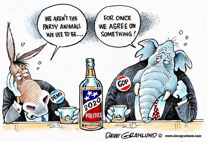 Dave Granlund cartoon on exhausting politics of 2020