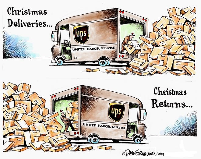 Dave Granlund cartoon on Christmas deliveries and returns