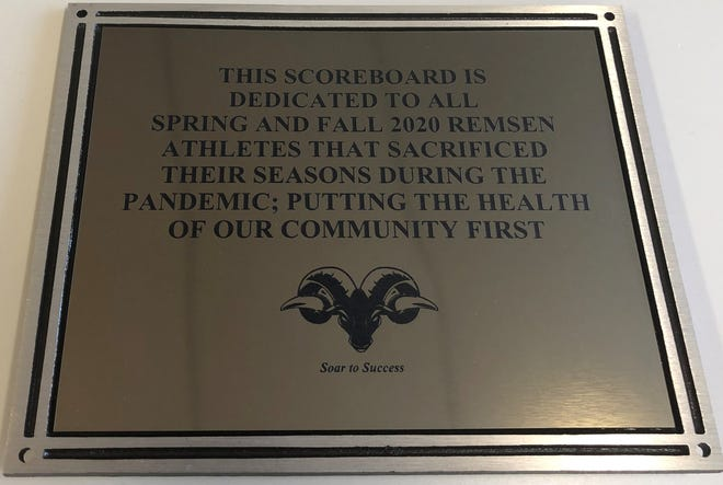 Remsen Central School dedicated two golden plaques to its spring and fall student-athletes who never had a sports season because of the COVID-19 pandemic.