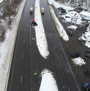 Aerial image of a fatal crash Tuesday on Route 5 in Herkimer.