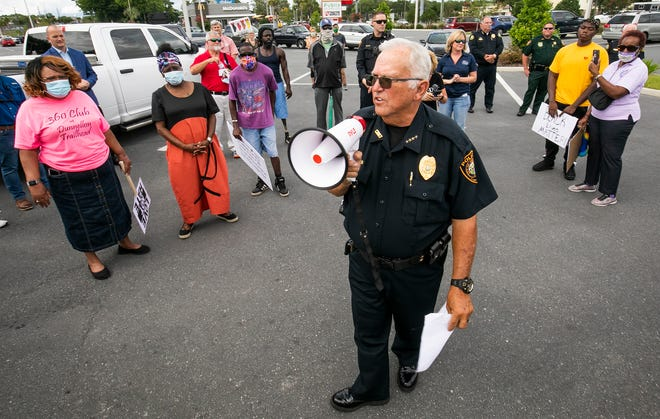 """""""We stand in unity against this type of action,"""" Dunnellon Police Chief Mike McQuaig told a group of about 200 people on June 4 before they took part in the Dunnellon Unity Walk. The chief has agreed to step in and serve as the city's interim administrator."""