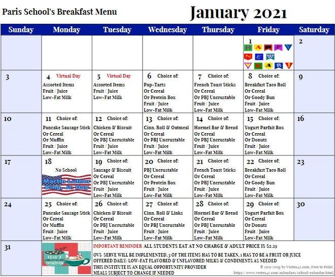 Paris School's breakfast menu