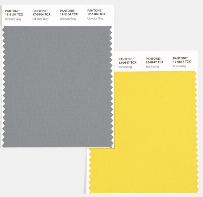 The Pantone Color Insitute has chosen two colors of the year for 2020 — Ultimate Gray and Illuminating, a bright yellow.