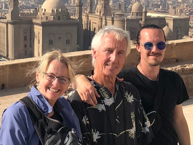 The Duffy family on vacation in 2019 in Egypt: Effie Malley, Gerald Duffy and SamDuffy. [Courtesy photo]