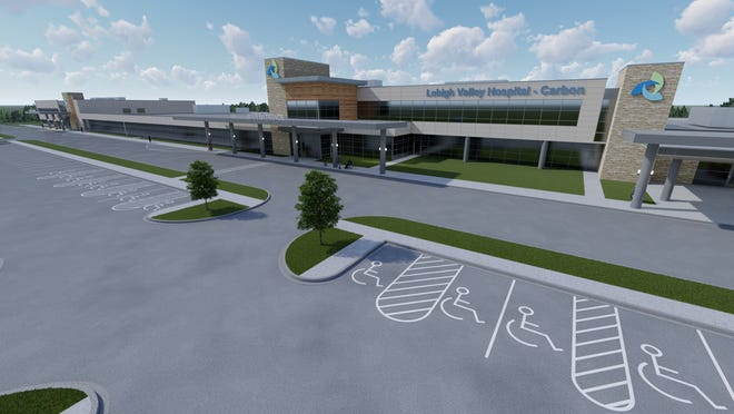 A digital rendering of Lehigh Valley Hospital-Carbon, which will be constructed on Blakeslee Boulevard near Lehighton. The groundbreaking of the hospital was announced Dec. 22, and the facility is expected to be completed by spring 2022.