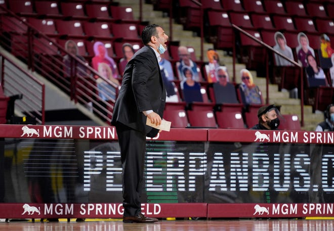 """Said coach Jared Grasso, shown at Bryant's Dec. 21 game at UMass, about his team's return from a COVID-19 pause: """"They wanted to get back out there and play. It's important that you have that."""""""